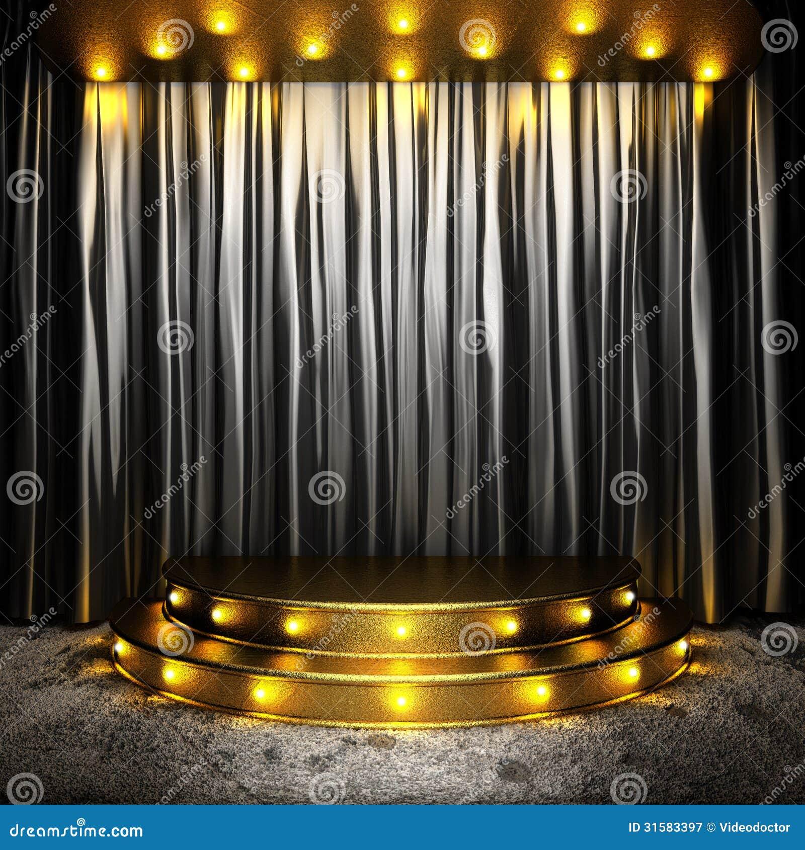Black Fabric Curtain On Golden Stage Stock Illustration
