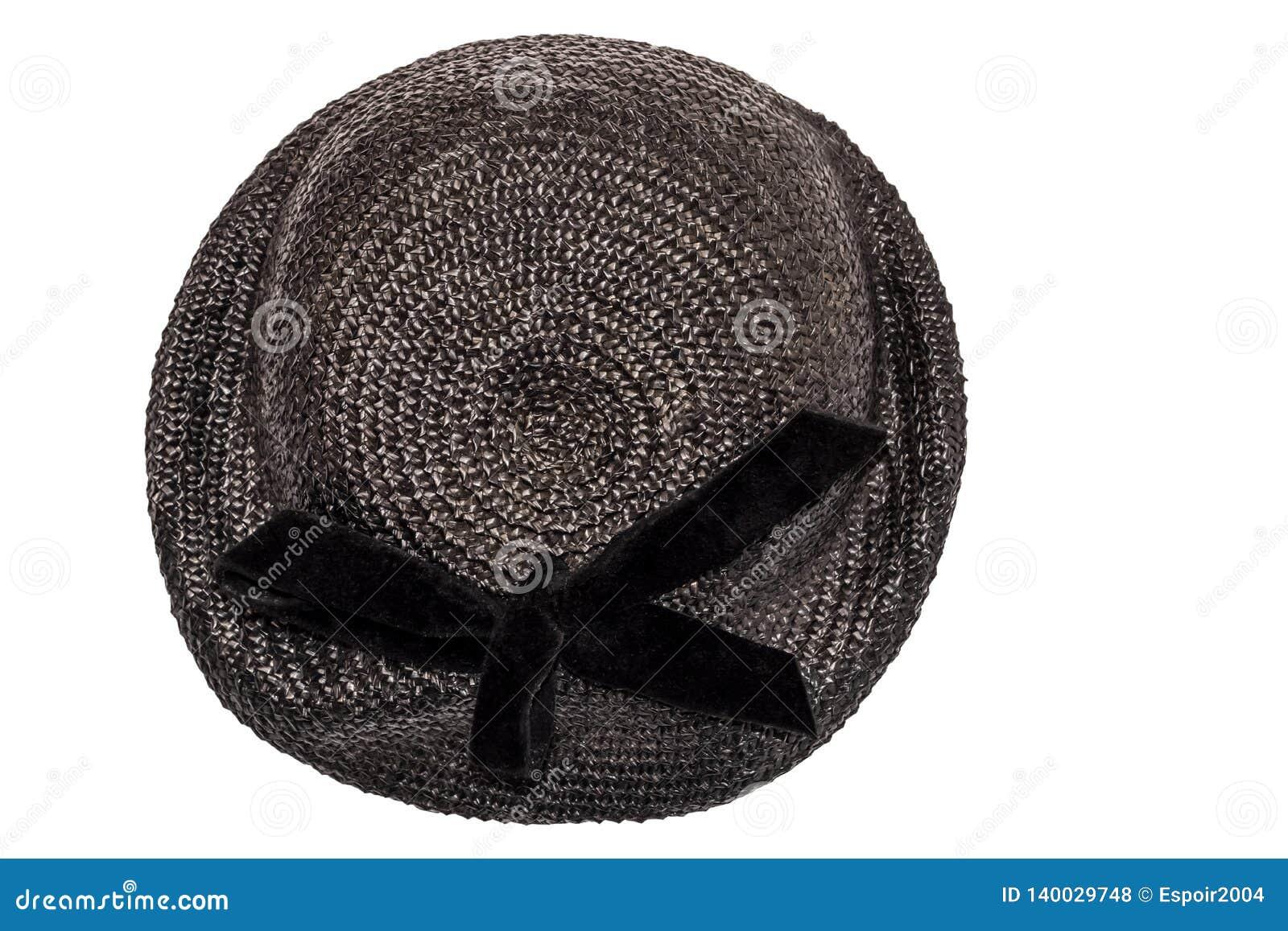 1b35b254e171a Black female hat with brim vintage fashion of the early twentieth century.
