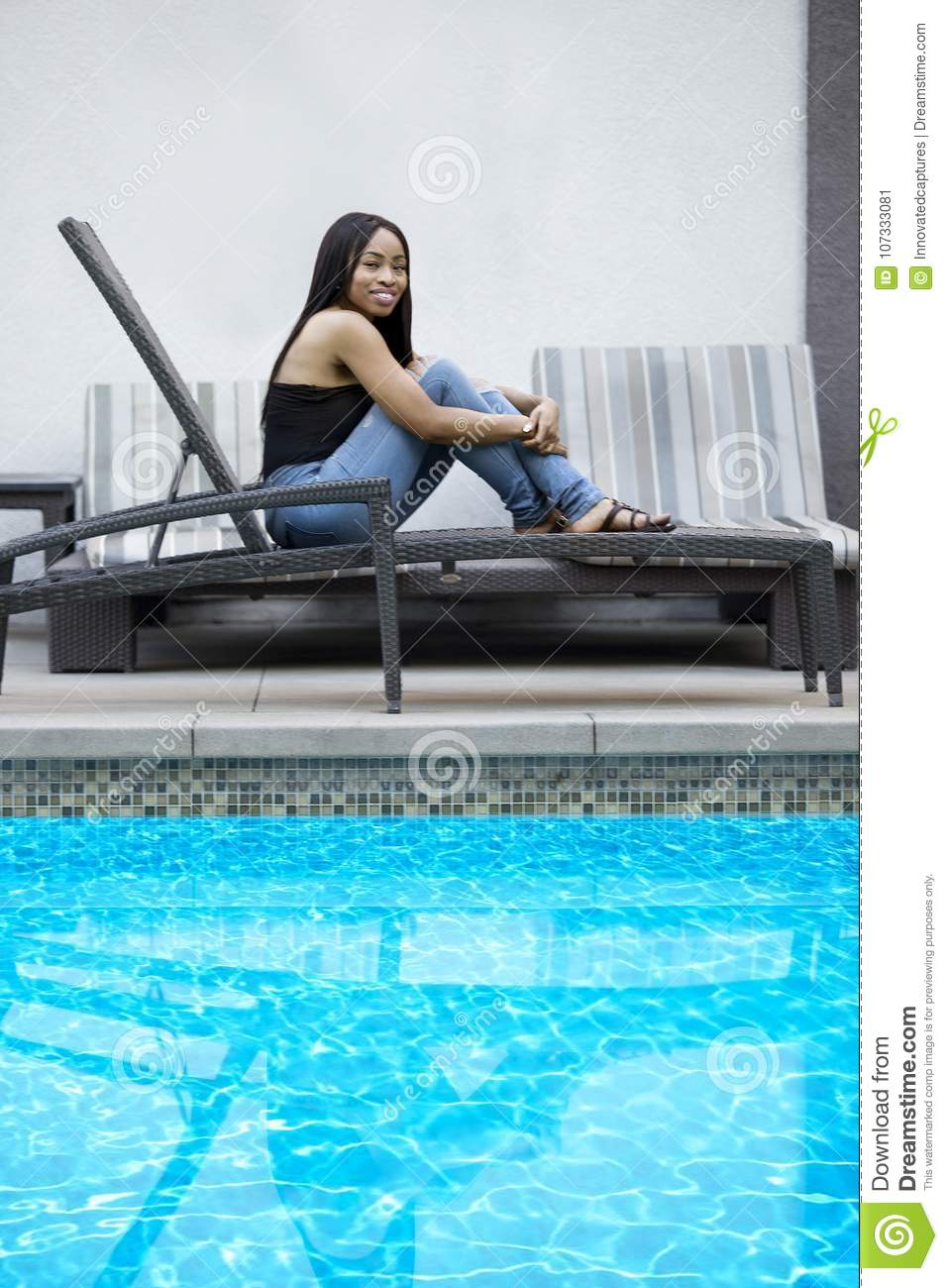 Single Lady Relaxing By The Pool Stock Image - Image of free