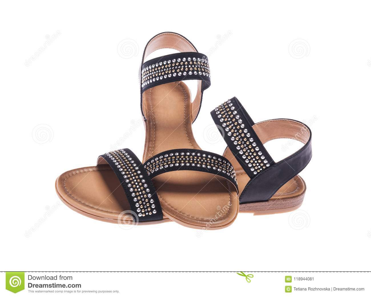 6b9e451a4a374 Black female sandals. stock image. Image of leather - 118944081