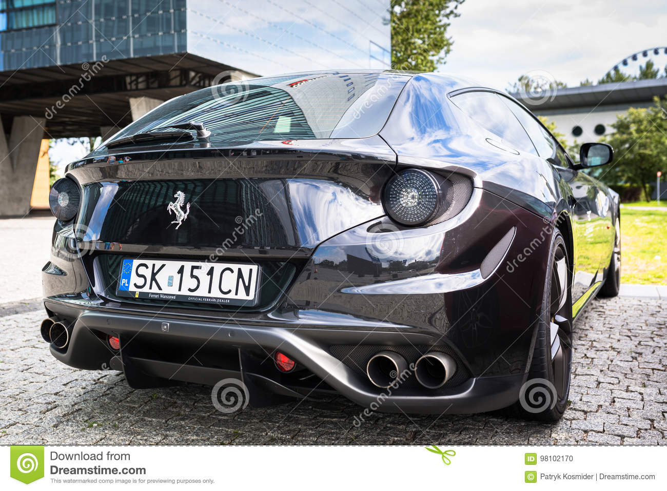 Black Ferrari Ff Parked On The Street Of Gdynia Editorial Image Image Of Drive Four 98102170
