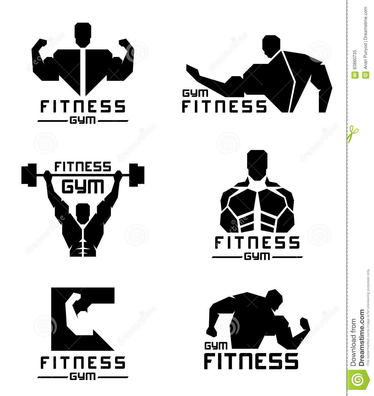 Black Fitness Gym Logo With Men Have Strong Muscles Vector