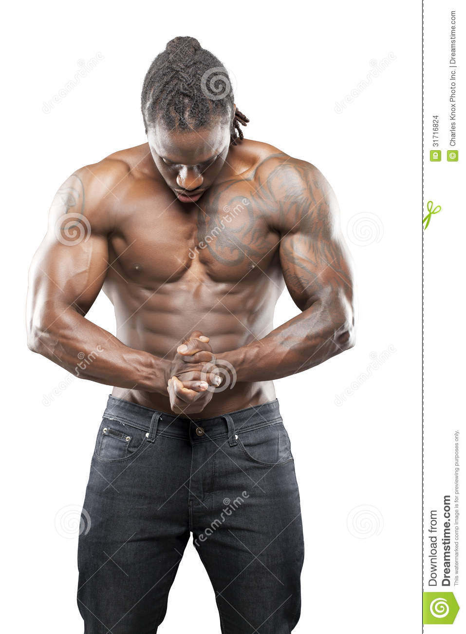 Black Fitness Model In Jeans Stock Images Image 31716824