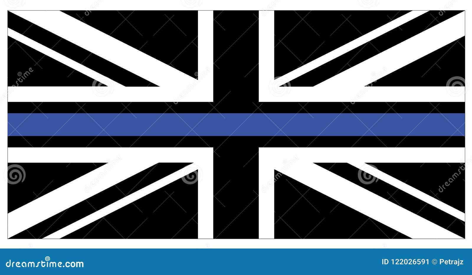 Black flag of United Kingdom with blue thin line
