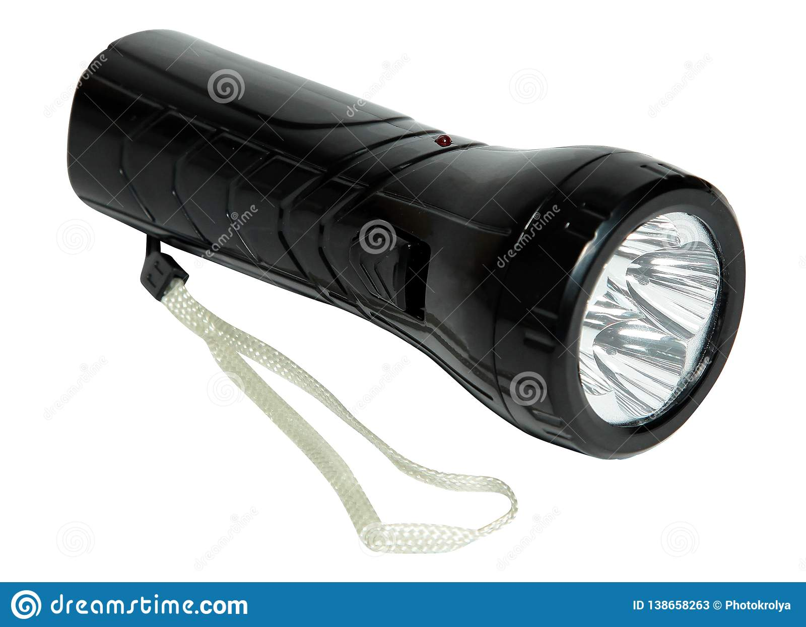 Black flashlight isolated on a white background.