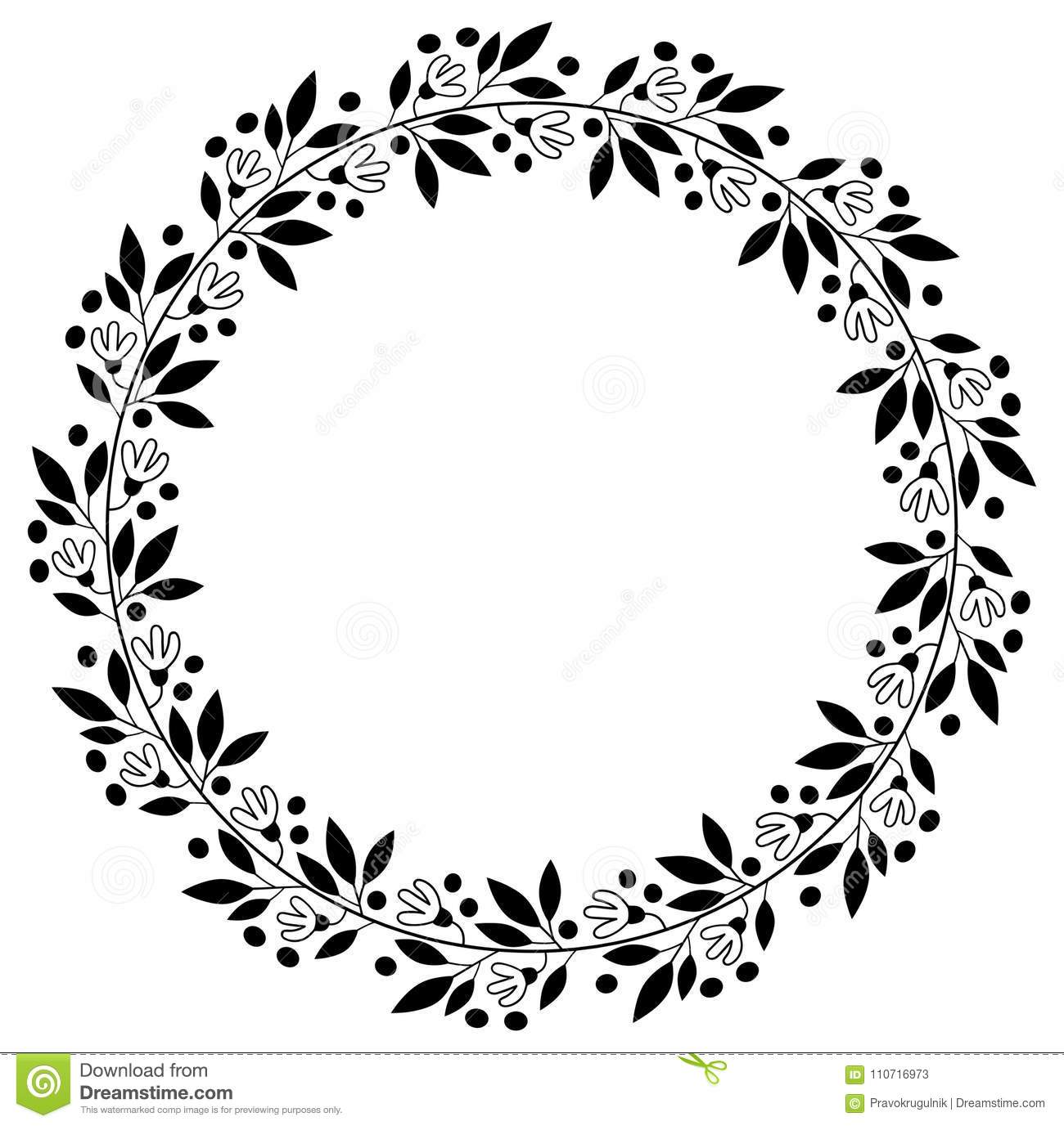 Black Floral Border For Graphic Design Stock Vector Illustration
