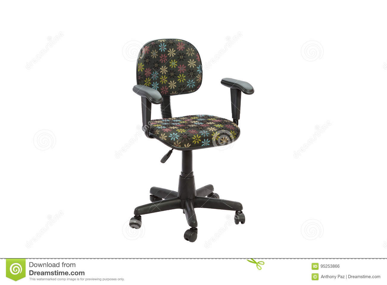 Remarkable Black Floral Office A Chair Stock Photo Image Of Equipment Inzonedesignstudio Interior Chair Design Inzonedesignstudiocom