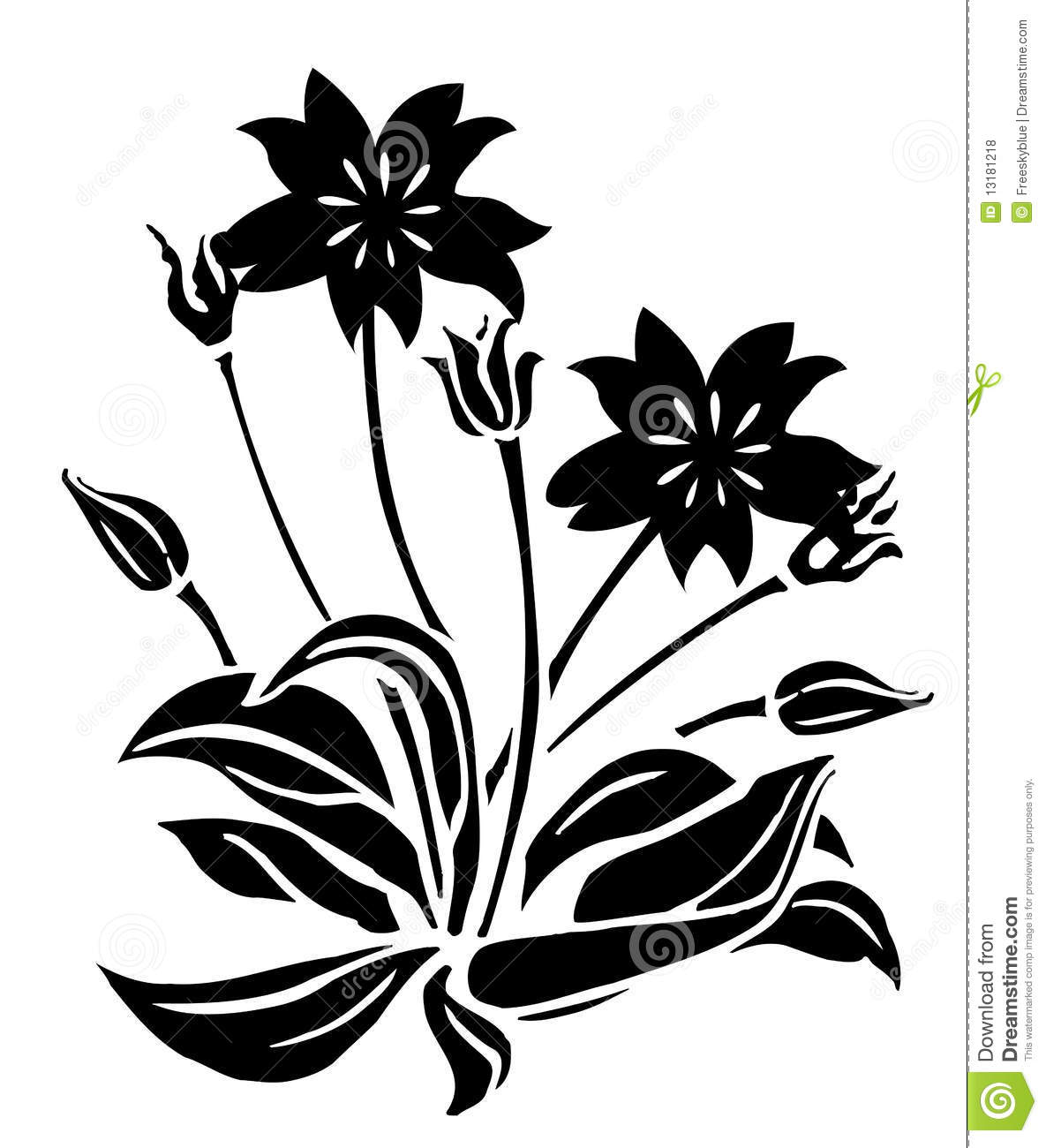 Black Flower And Bud Pattern Royalty Free Stock s Image