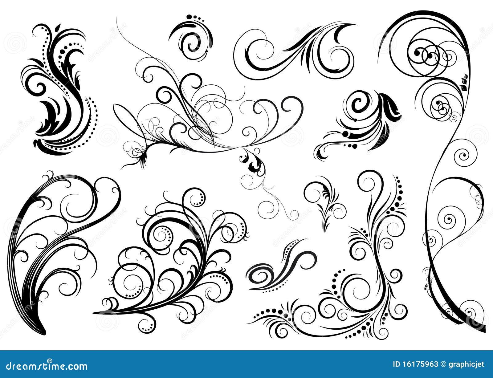 Black flower design elements stock vector illustration for Scarica clipart
