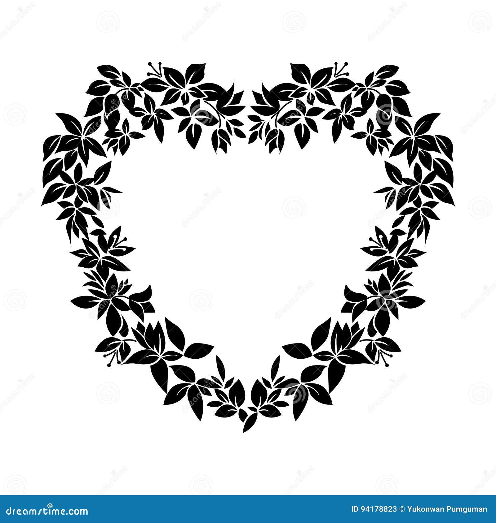 Black Flower Heart Shape Illustration Tattoo On White Backgroun