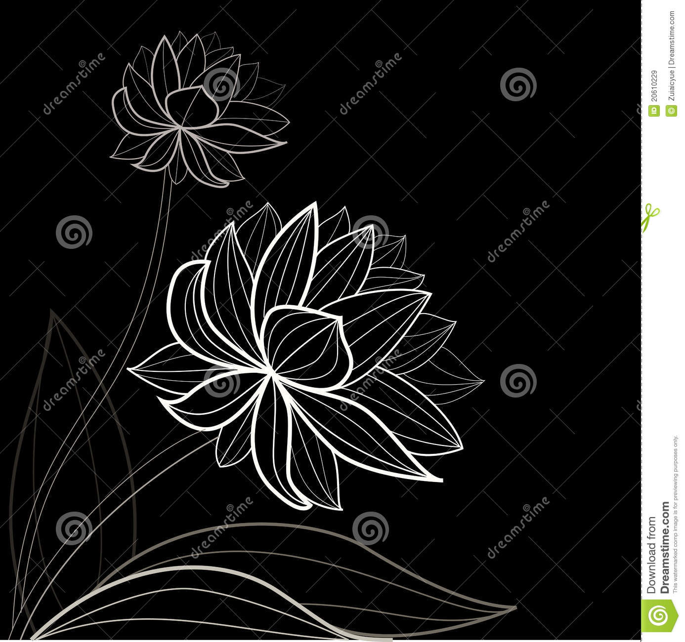 Black Flower And Bud Pattern Royalty Free Stock Photos: Black Flower Pattern Royalty Free Stock Images