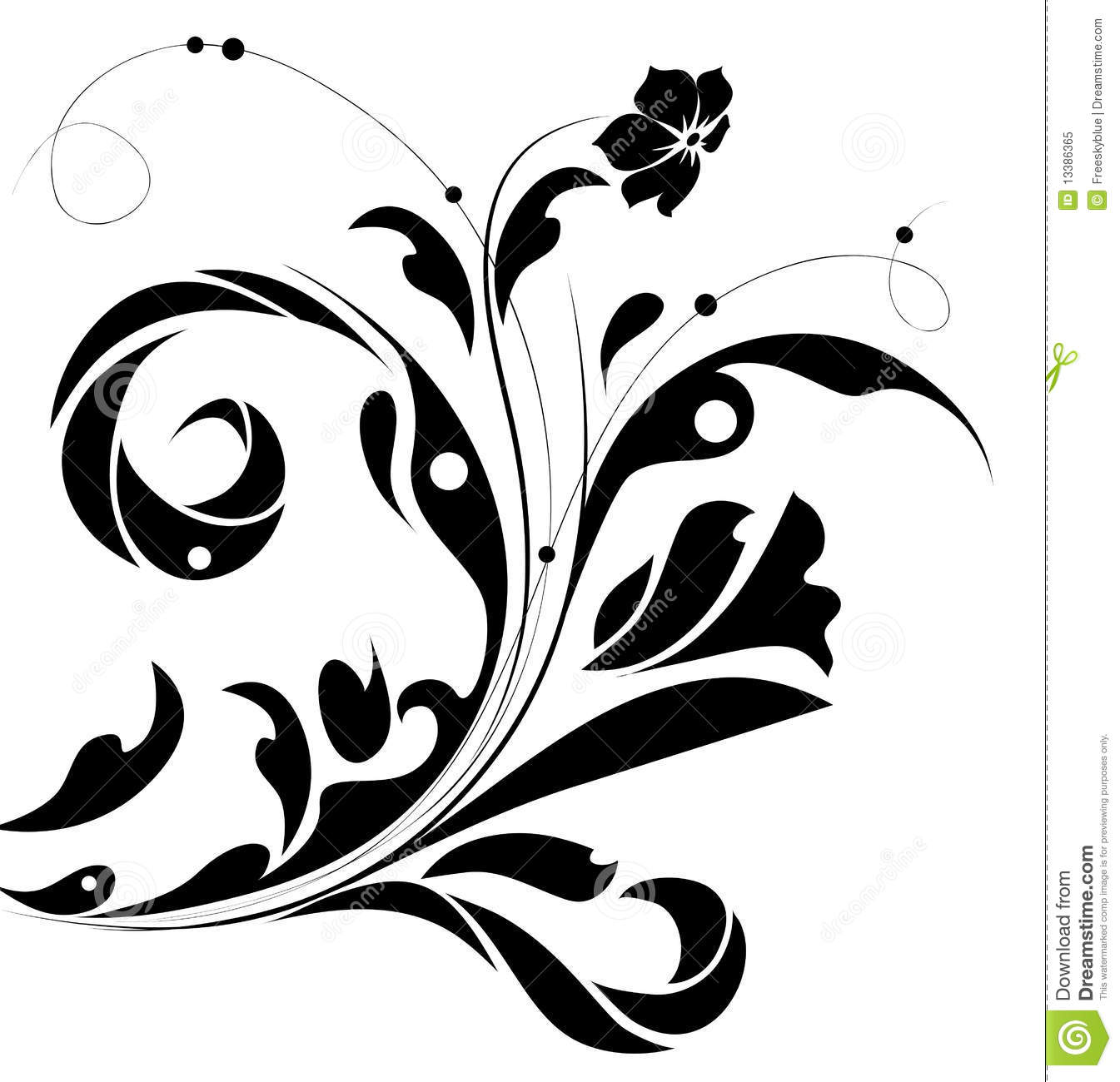 Black Flower Pattern Stock Images: Black Flower Pattern Silhouette Stock Illustration