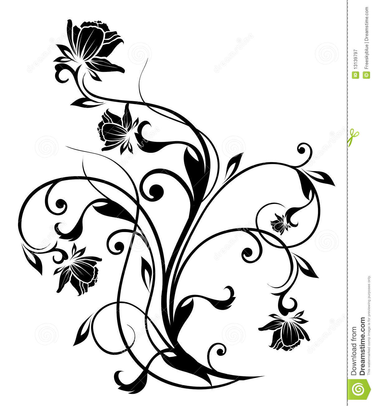 Stickers Wall Art Black Flower Silhouette Royalty Free Stock Photography