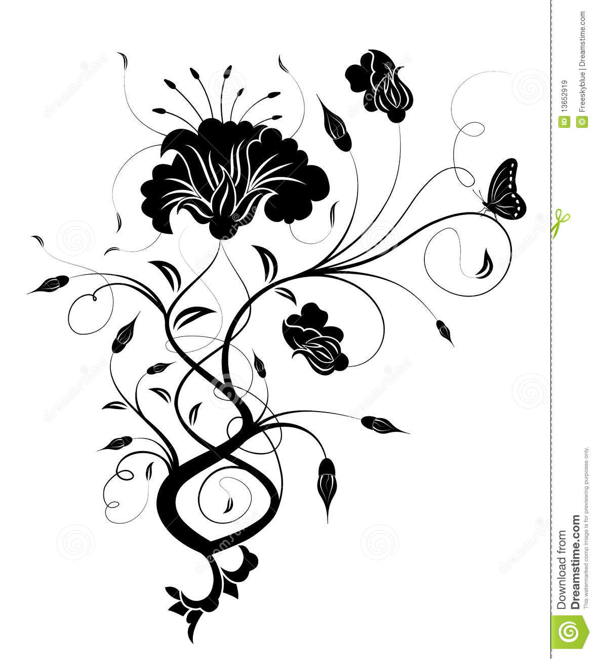 Black Flower And Vines Pattern Royalty Free Stock Image: Black Flower Silhouette Royalty Free Stock Images