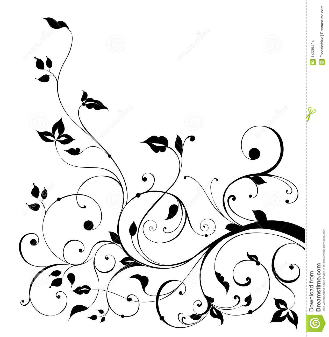 Black Flower Pattern Stock Images: Black Flower And Vines Pattern Stock Illustration