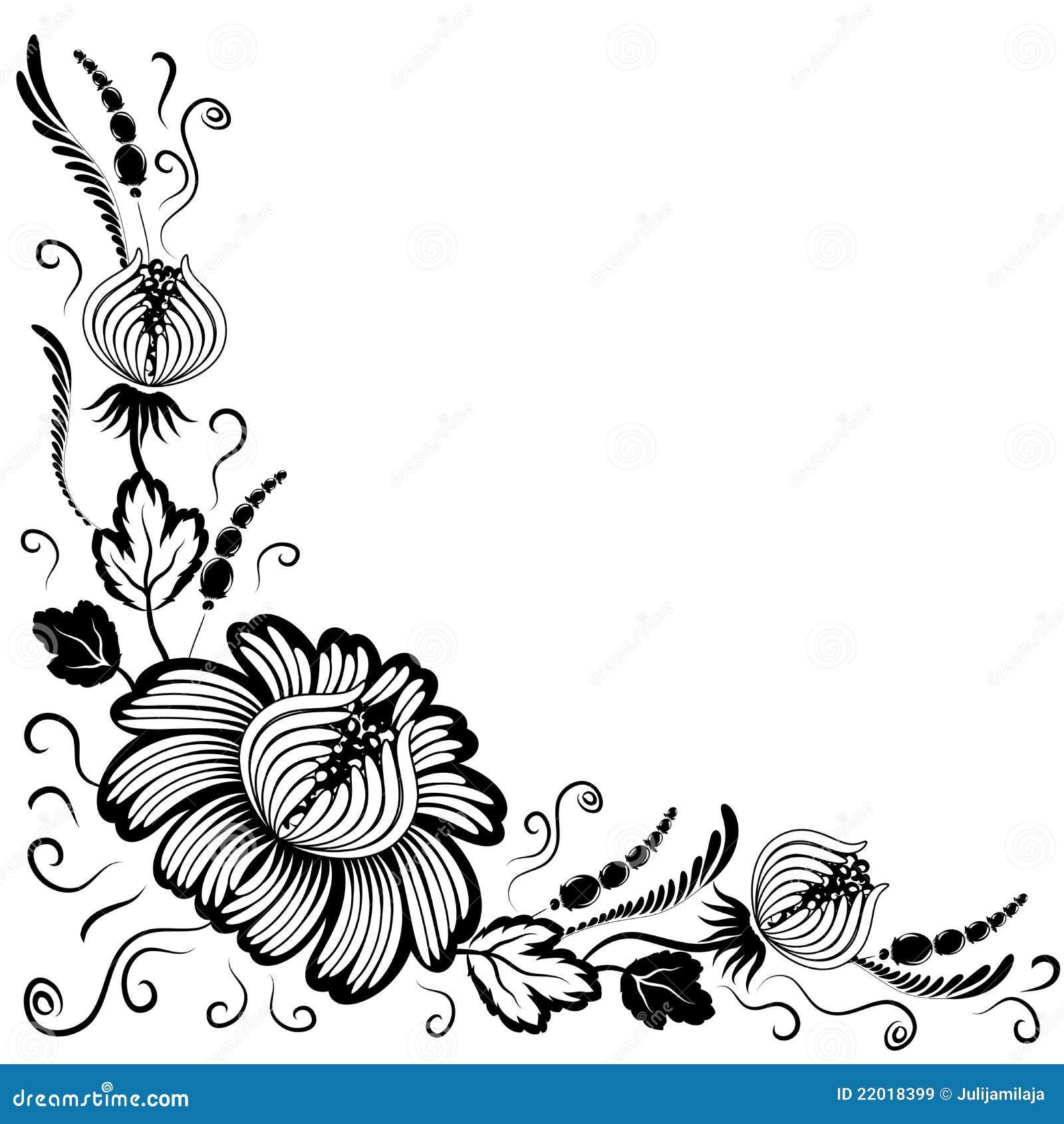 Black Flower On White Background Royalty Free Stock: Black Flowers On A White Background Stock Illustration
