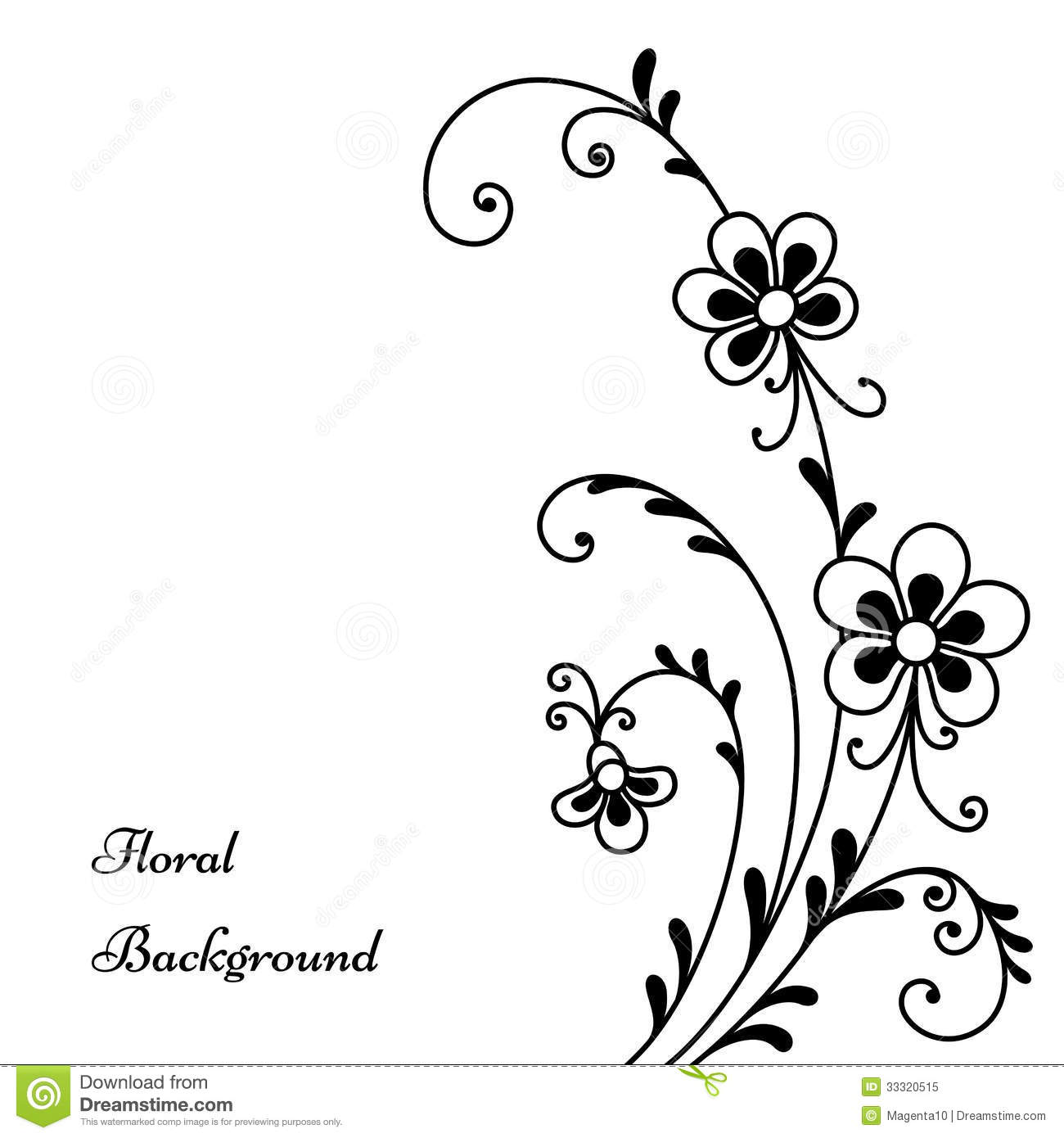 Black Flowers On White Stock Vector Illustration Of Fancy 33320515