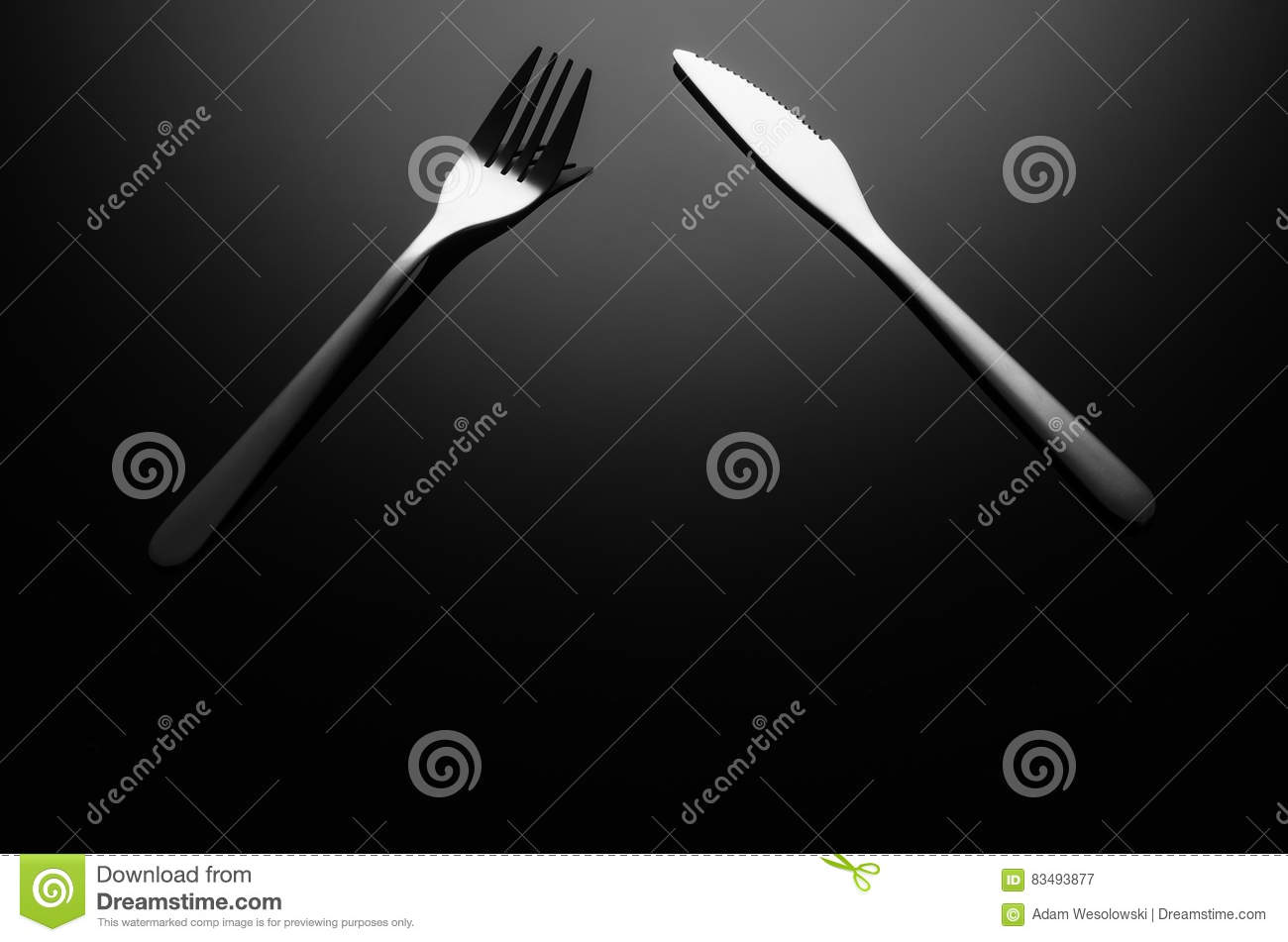 Black Food Background Silverware On Reflective Surface