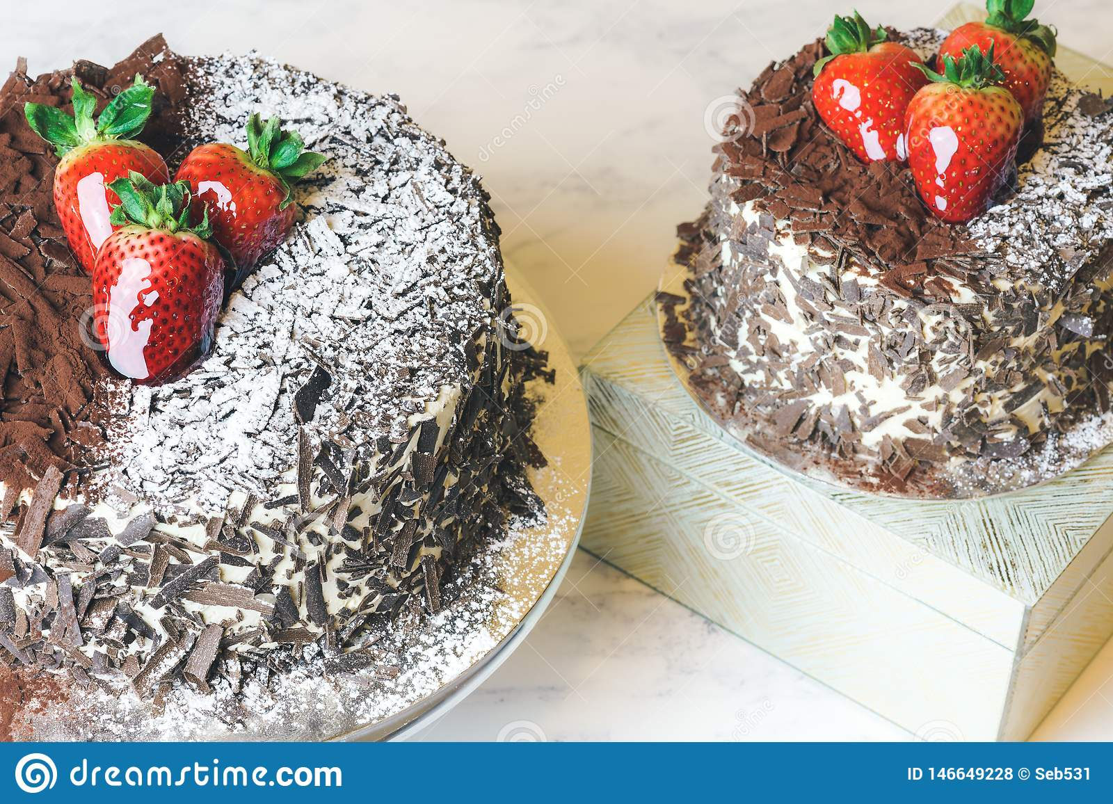 Black Forest Cake. Schwarzwald Torte with Chocolate and Strawberry