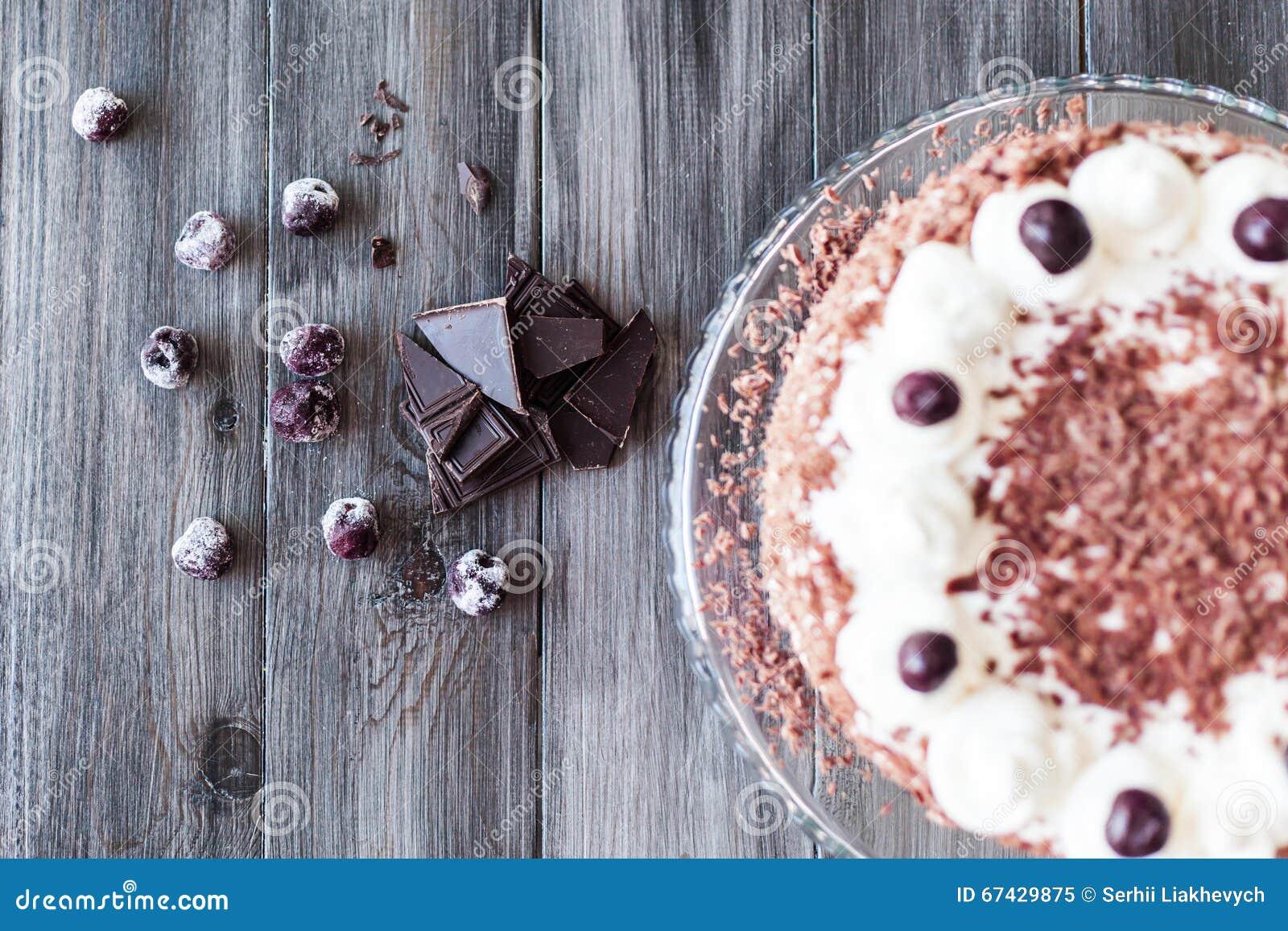 Chocolate Cake Decorated With Cherries