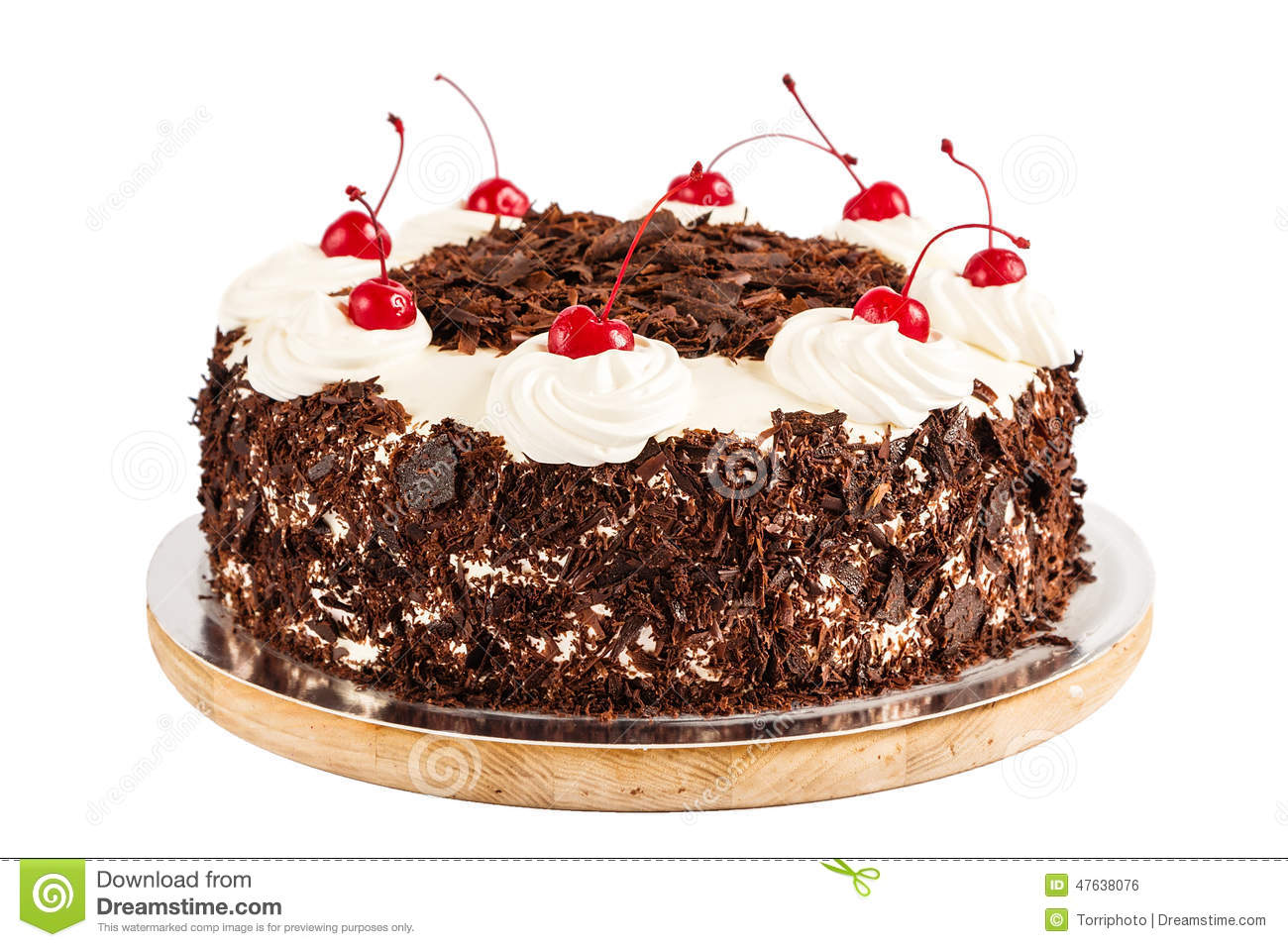 black forest cake decorated with whipped cream and. Black Bedroom Furniture Sets. Home Design Ideas