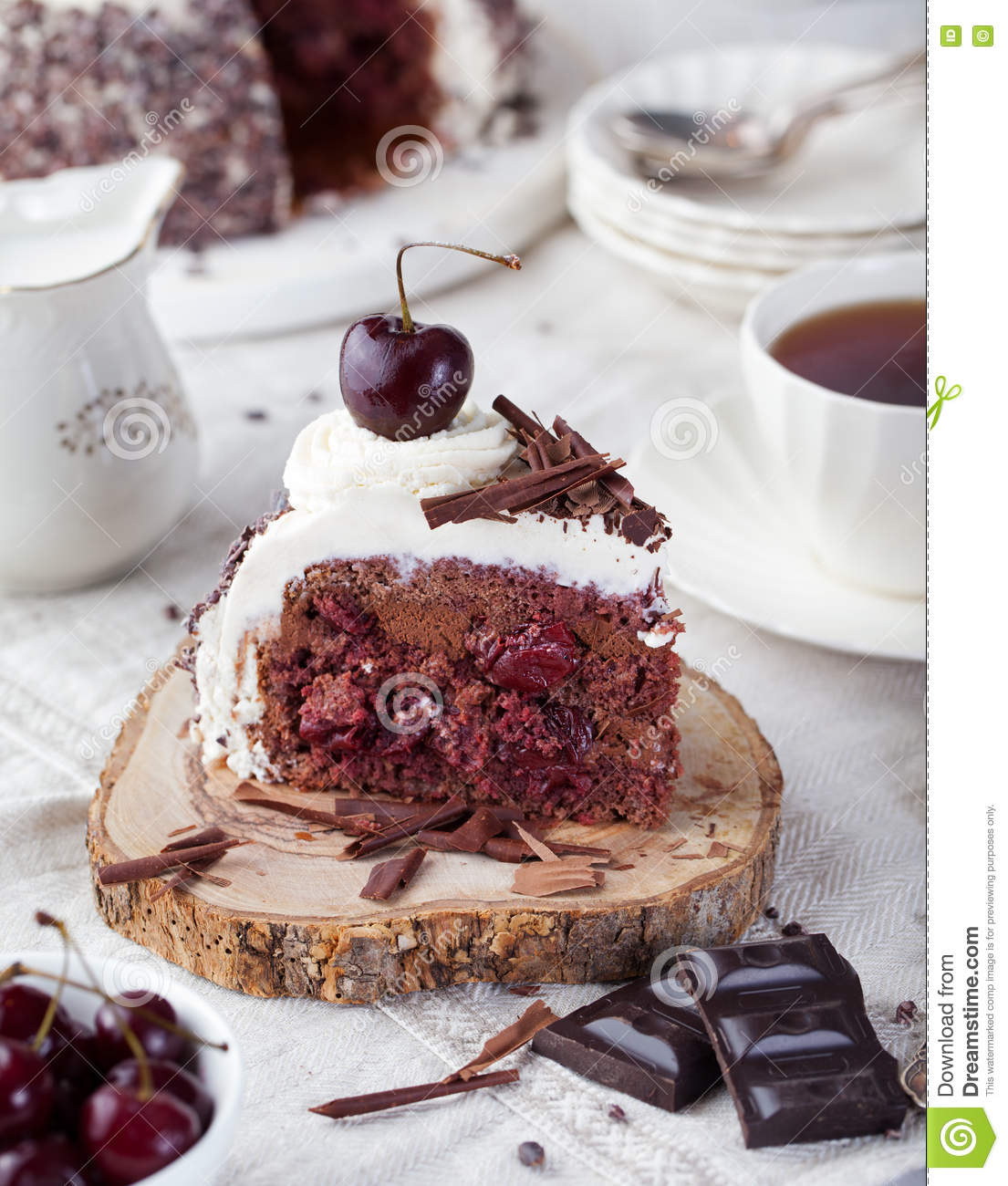 Black Forest Cake ,decorated With Whipped Cream And ...