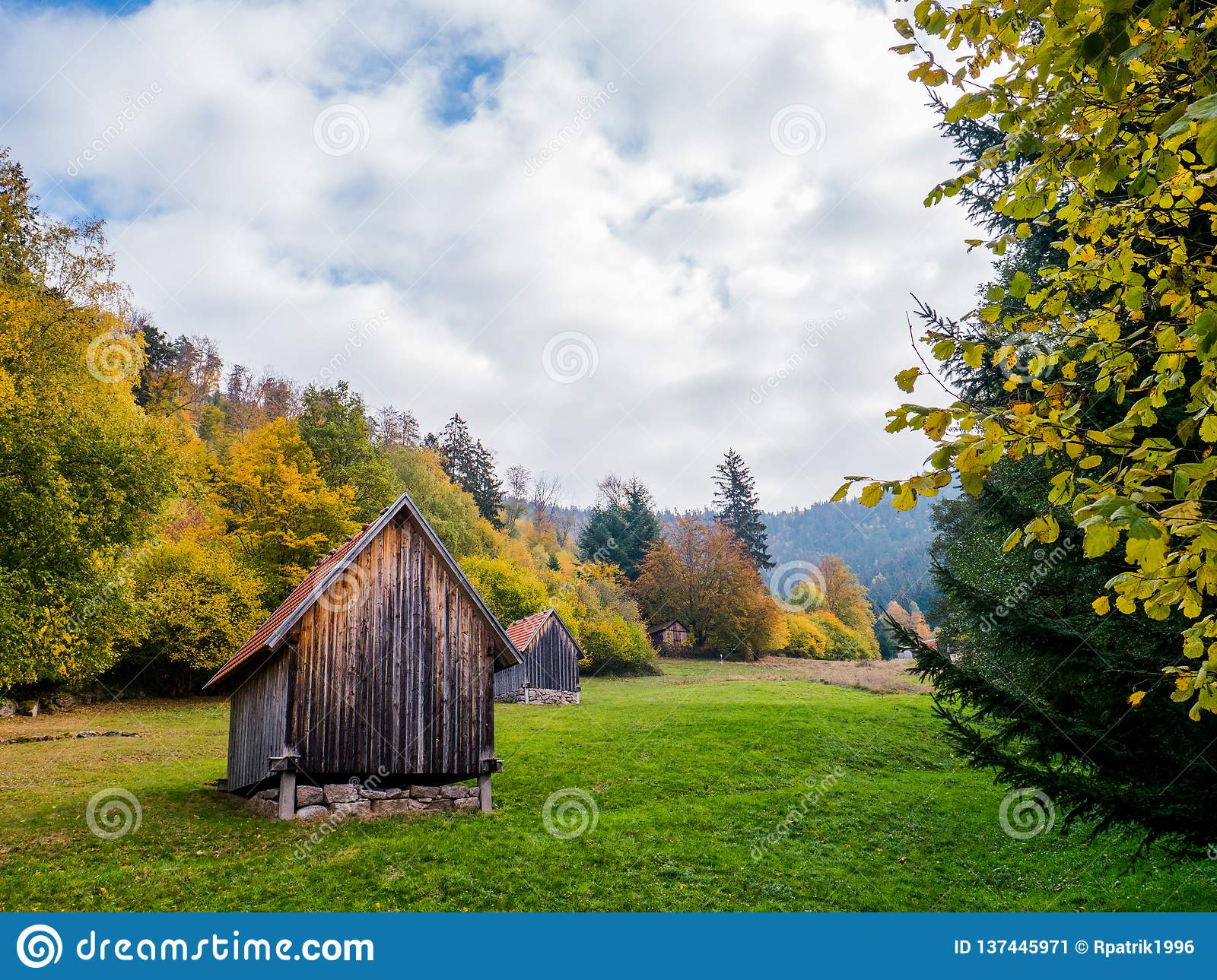 Black Forest landscape with sheds in autumn