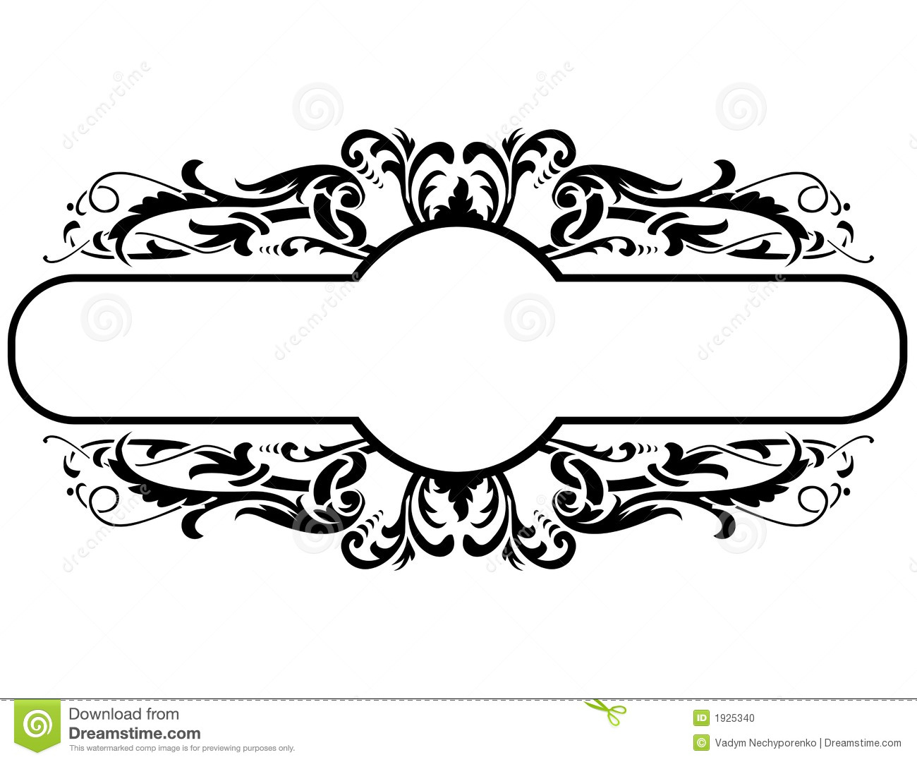 Floral Decoration black frame with floral decoration, vector illustration stock