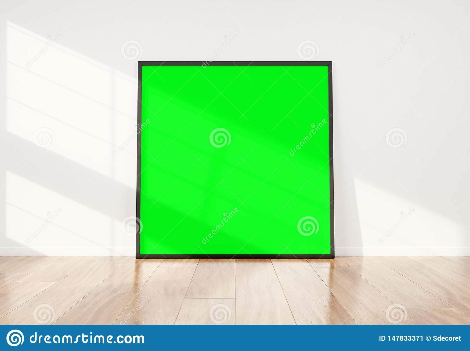 Black frame leaning in bright white interior with wooden floor mockup 3D rendering