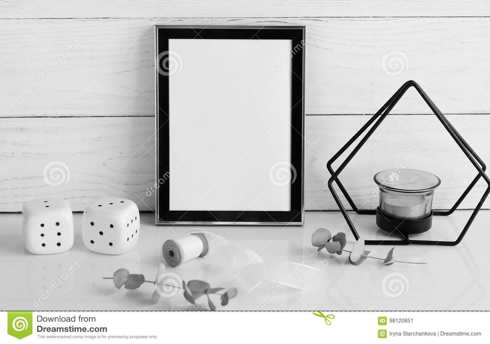 Black frame mockup with interior items
