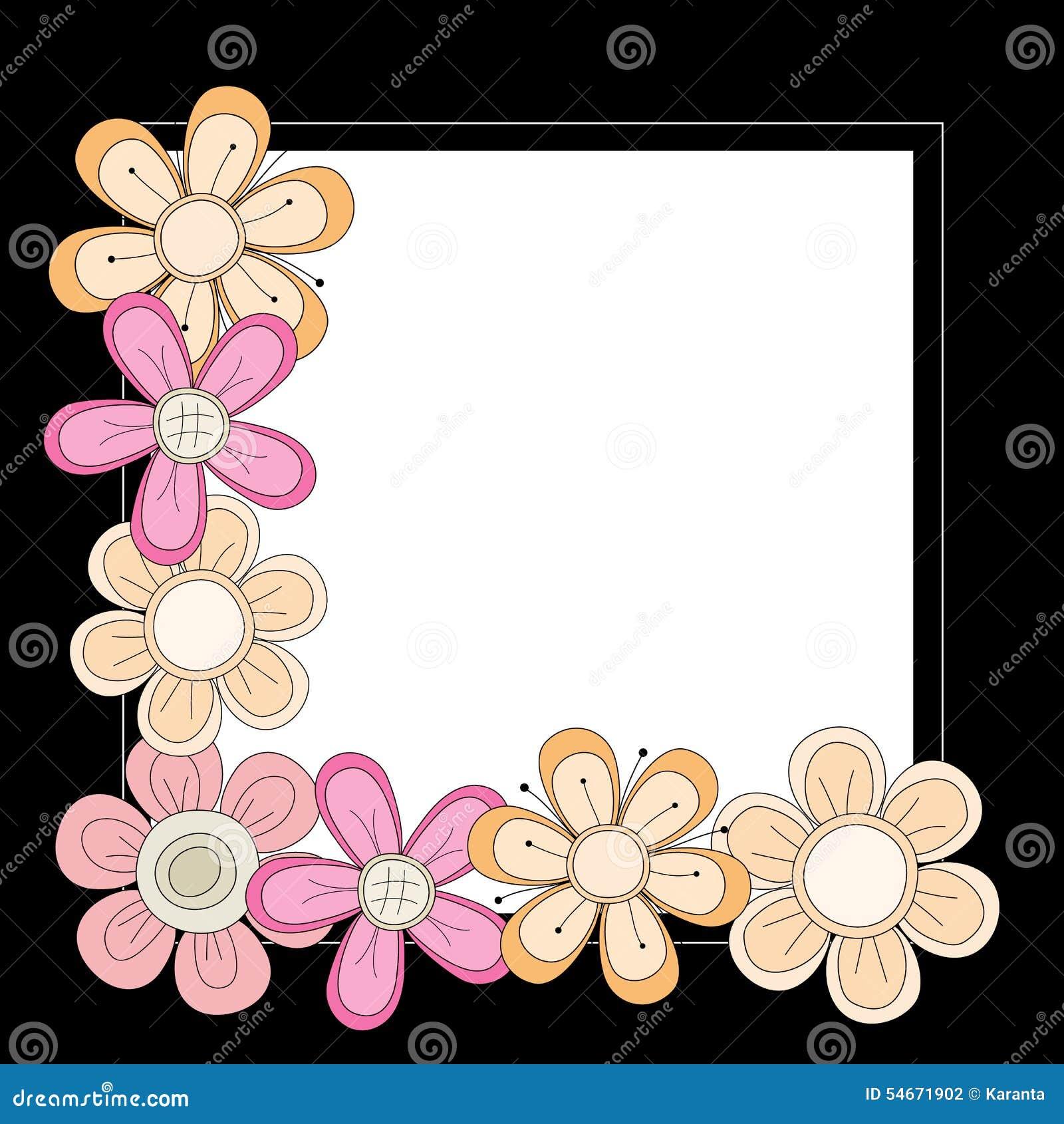 Black frame with pink orange and beige flowers stock vector background beige black flowers frame orange over pink white dhlflorist Choice Image
