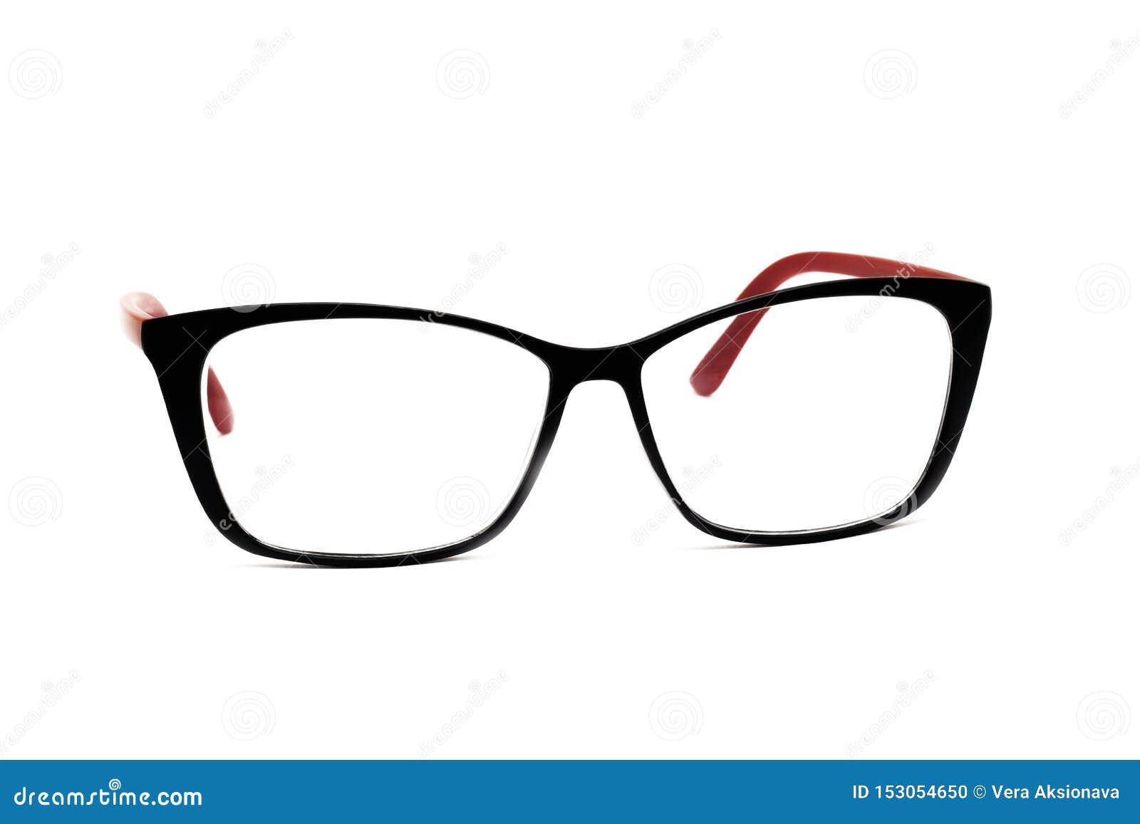 Black frame for women`s glasses, isolated on white background