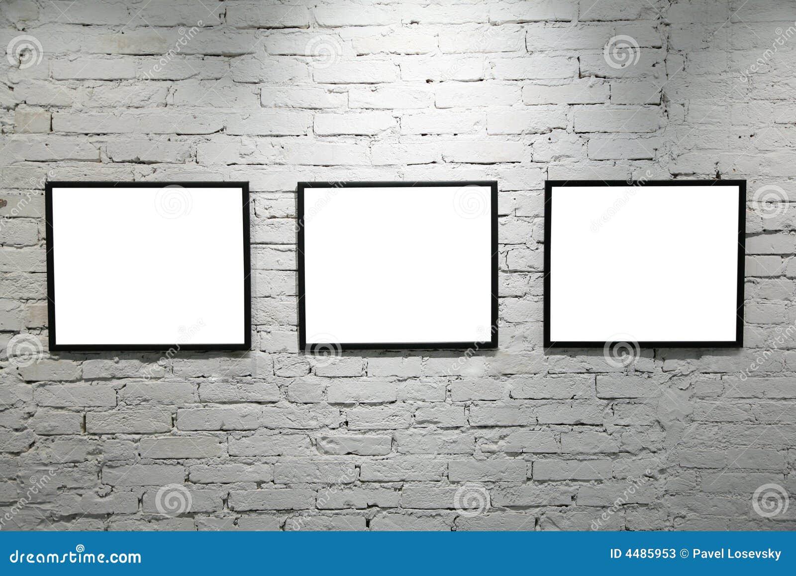 Black Frames On White Brick Wall 2 Stock Photos Image