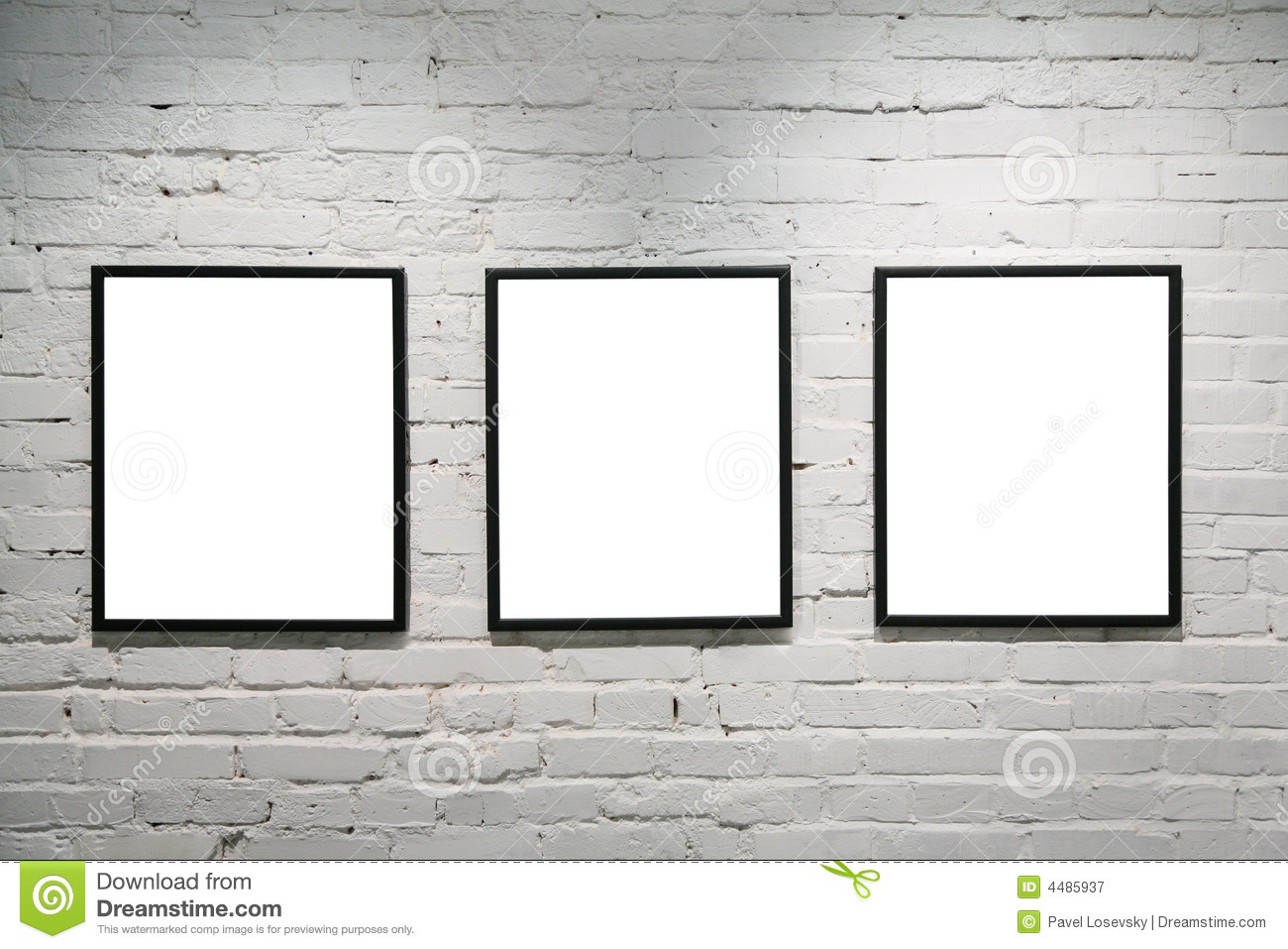 black frames on white brick wall 3
