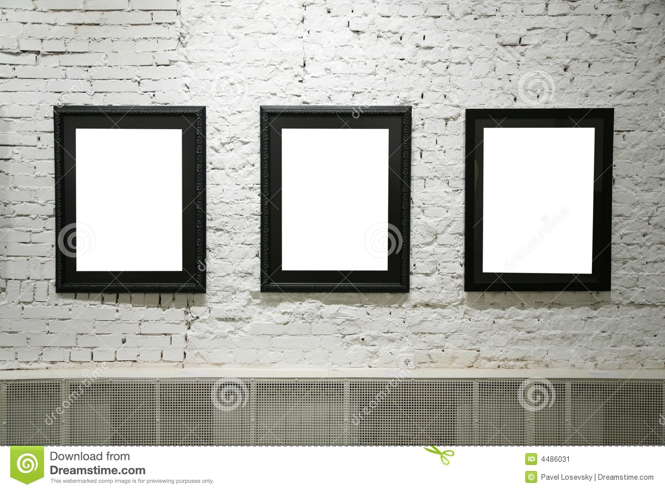 Black frames on white brick wall