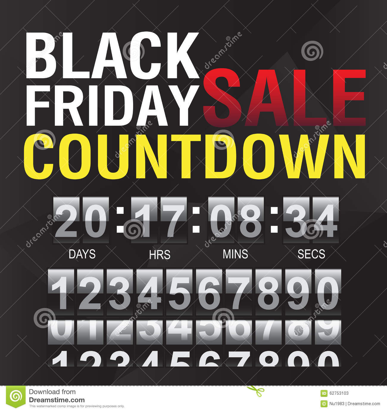 Black Friday Countdown Timer Template Stock Vector Illustration Of