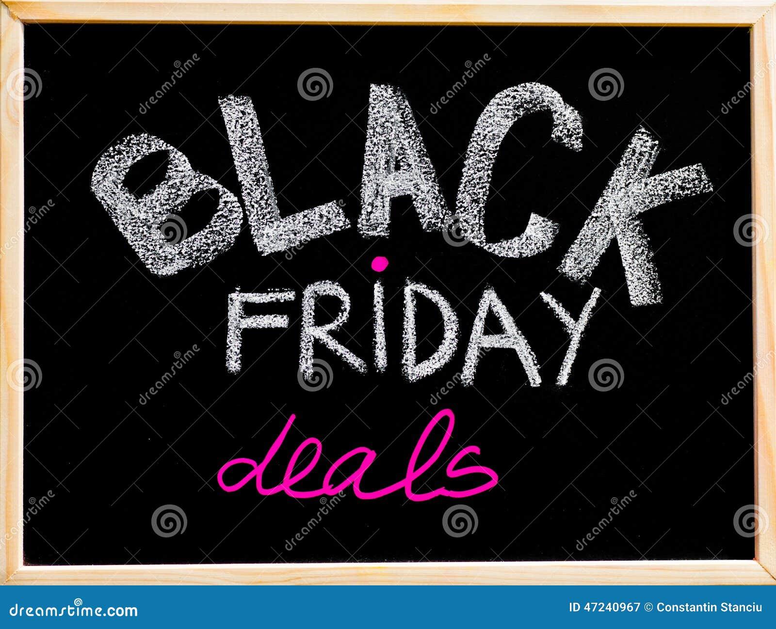 Black Friday Deals Advertisement Handwritten With Chalk On