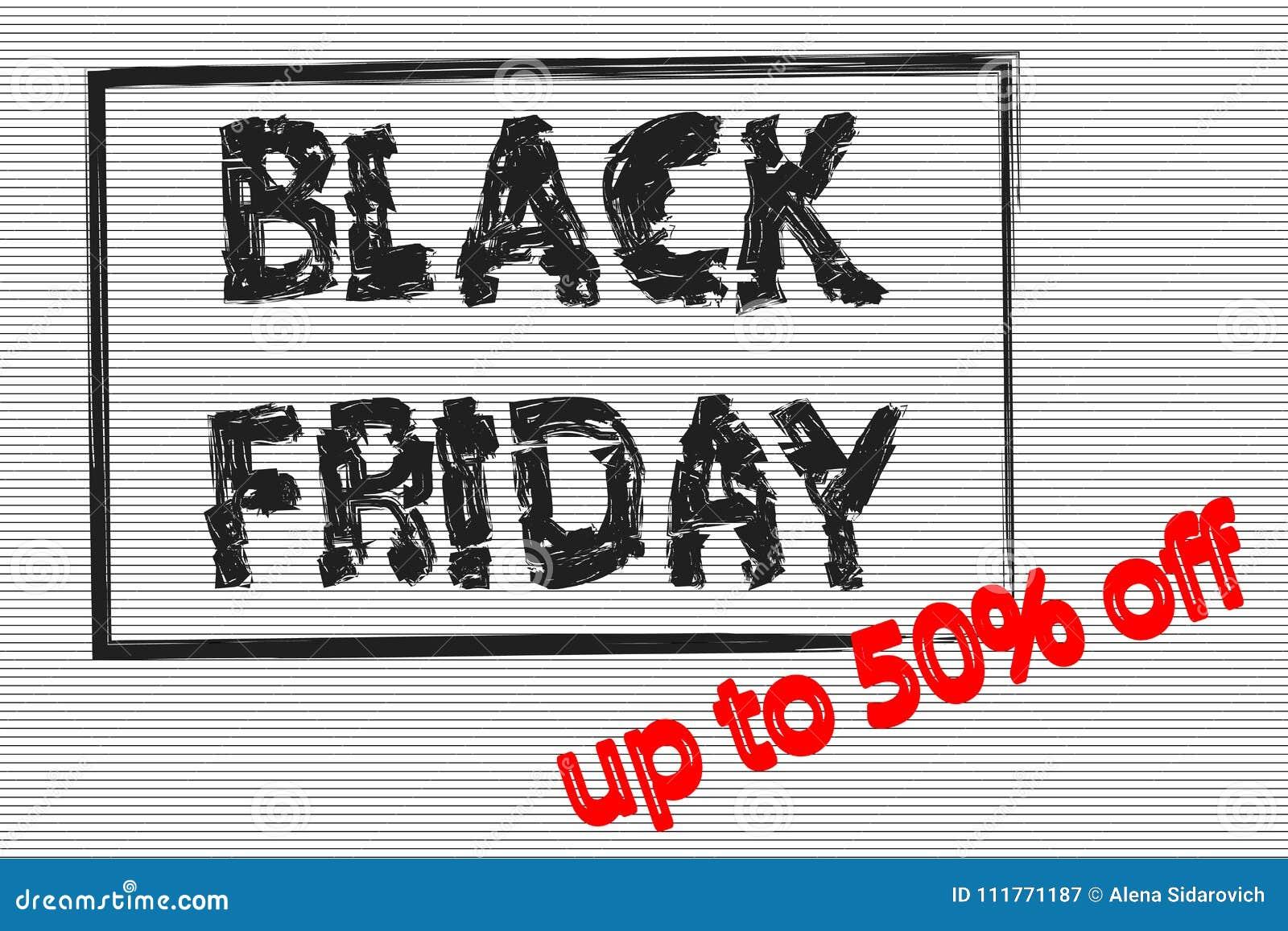 Black Friday en el marco negro, bandera de la venta, el hasta 50  apagado, el texto