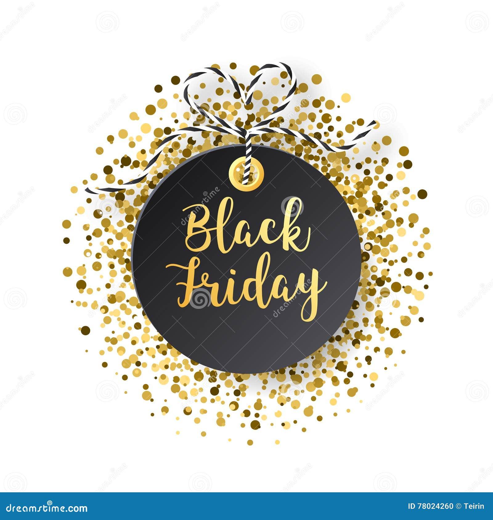 Black Friday försäljningsetikett Den svarta etiketten med guld- blänker