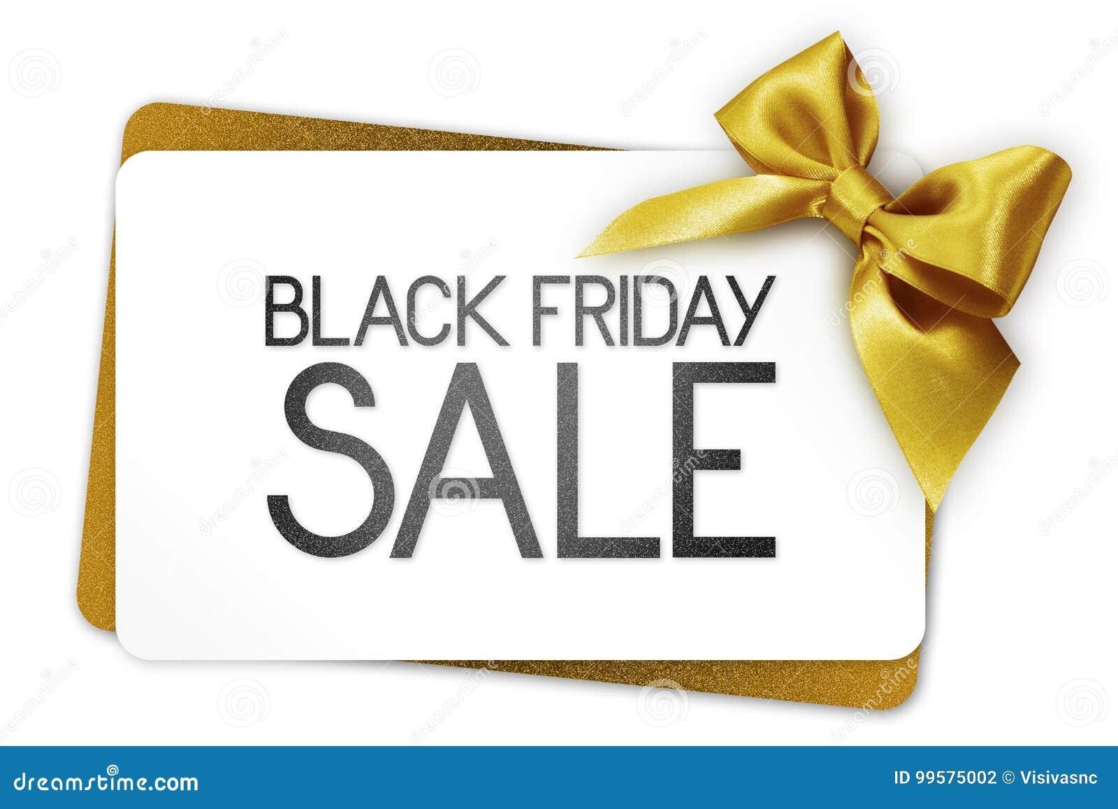 Black Friday försäljningstext skriver på det vita gåvakortet med guld- ribb