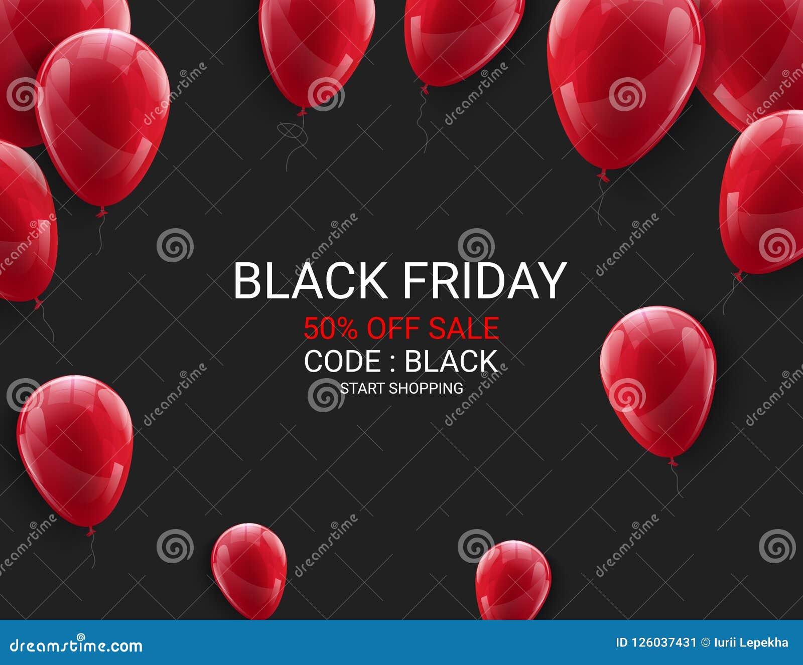 Black Friday-het malplaatje van de verkoopvlieger Donkere achtergrond met rode ballons voor seizoengebonden kortingsaanbieding Ve