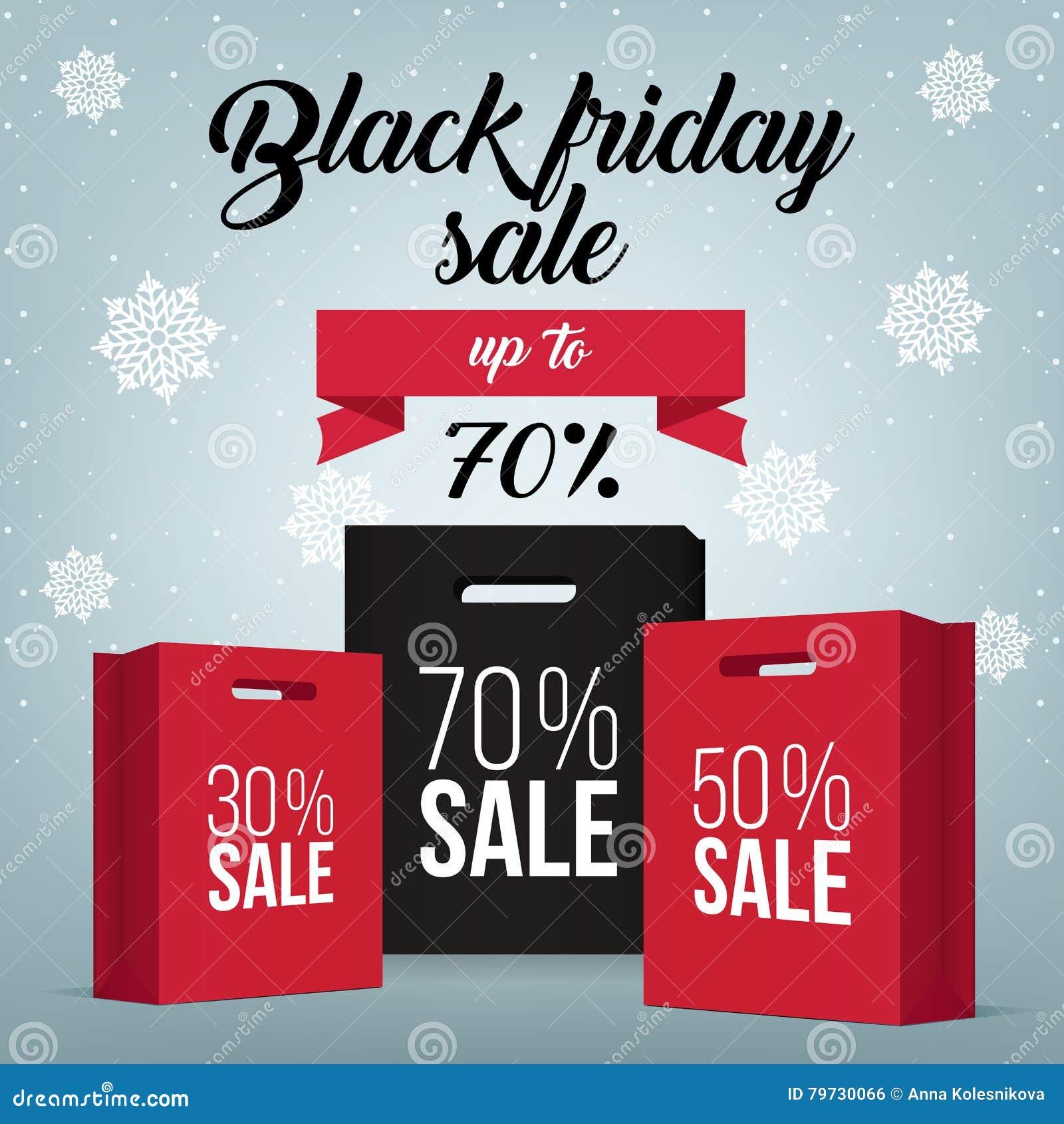 Black Friday-het winkelen zak en van de verkoopmarkering marketing malplaatje