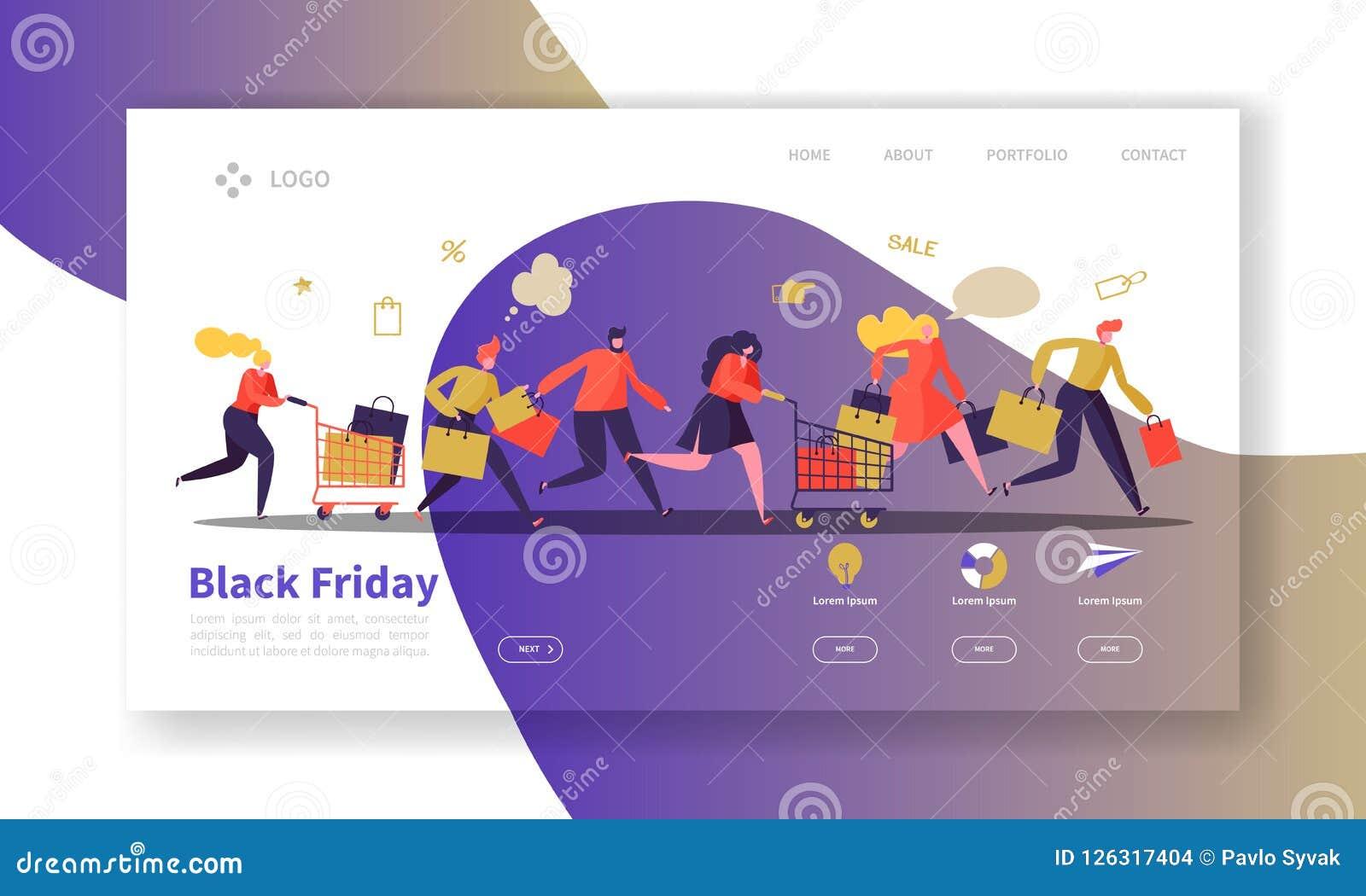 Black Friday-Landungs-Seiten-Schablone Saisonrabatt-Website-Plan mit flachen Leute-Charakteren mit Einkaufstaschen