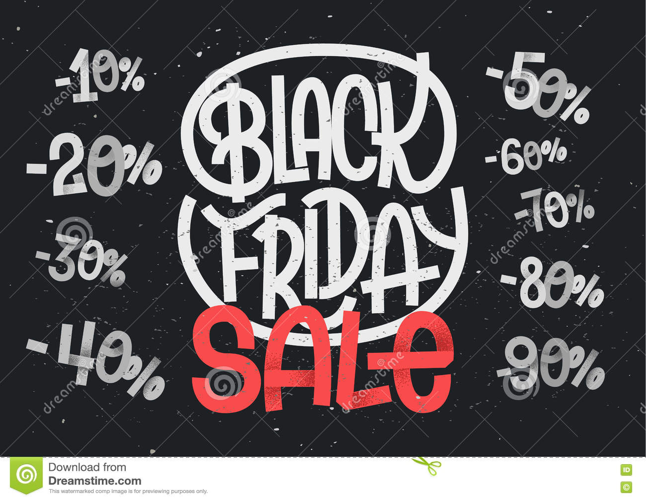 Black Friday lettering with percentage numbers for sales
