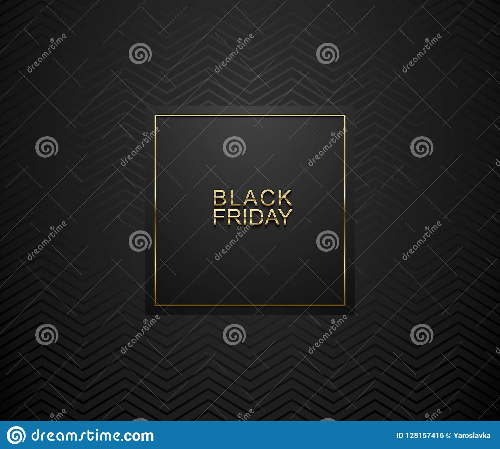 Black Friday luxury banner. Golden text on black square label frame. Dark geometric zigzag pattern background. Vector illustration