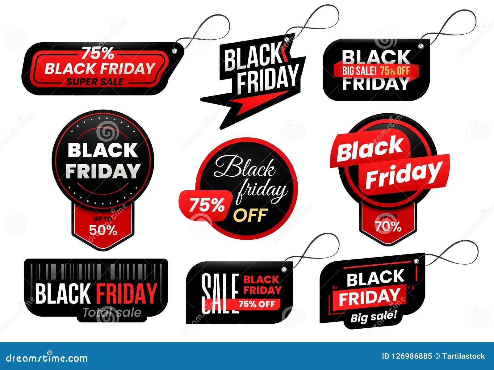 Black Friday-markering De markeringen van de marktverkoop, het winkelen verkoop ondertekenen etiket en marketing reeks van het et