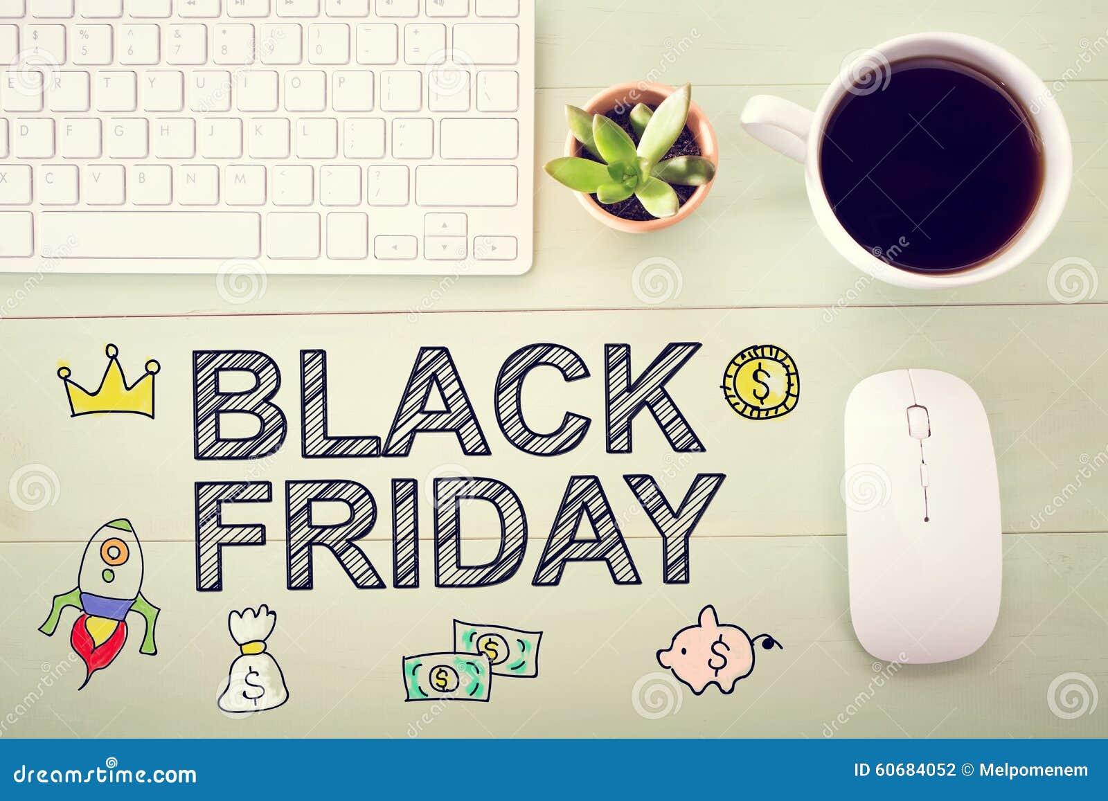 Black Friday Mitteilung Mit Arbeitsplatz Stockfoto Bild Von Viele