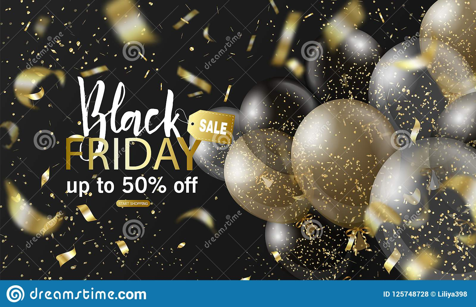 Black friday sale background with balloons and realistic falling serpentine. Modern design.Universal vector background
