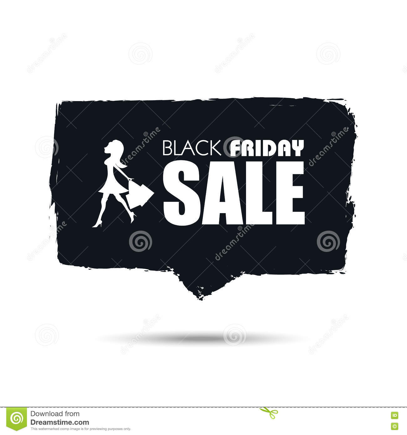 Black Friday Sale Banner With Woman Shopping For Fashion Designer Clothes And Dress Hand Painted Watercolor Vector Stock Vector Illustration Of Retail Banner 80604408