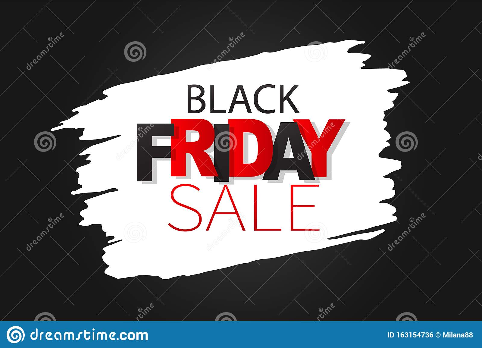 Black Friday Sale Banner Special Offer Discount Lettering On White Paint Stock Vector Illustration Of Flyer Final 163154736